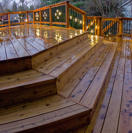 Deck at night after the rain